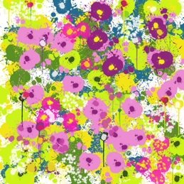 Carole Irving Art and Photography Springtime Joy art abstract flowers  pastel bright cheerful modern green pink floral flowers square personalised online greeting card