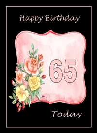 Birthday Flowers Pink Black Happy  65 personalised online greeting card