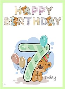 birthday children  Teddy Bear Number 7 Hat Balloons Purple Blue Brown Green Happy  personalised online greeting card