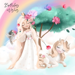 UNICORN PRINCESS BIRTHDAY fantasy personalised online greeting card