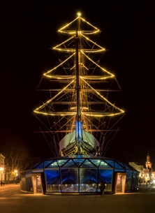 Cutty Sark Greenwich Christmas Tree Sails Landmark London History Ship Clipper Photography personalised online greeting card