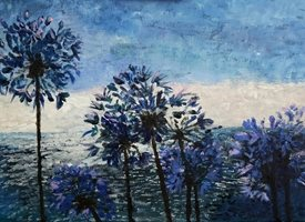 art Impressionism, Agapanthus, Flowers, Blue, Summer z%a personalised online greeting card