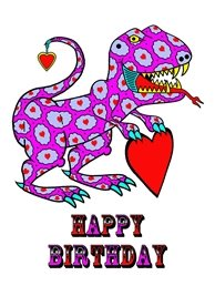 Birthday Children t-rex Dinosaur heart animals personalised online greeting card