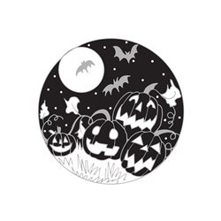 Halloween Bats, Pumpkins, Halloween, Jack-o-lanterns, pumpkin patch, harvest, autumn, full moon,  personalised online greeting card
