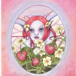 General fairy, fantasy, flowers, artistic, hand drawn personalised online greeting card