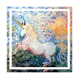 Bee Skelton Blue Unicorn General Unicorn, mystical beast, magical animal, childrens birthday, personalised online greeting card