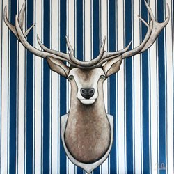 Antonio Pozo Lonely Stag art Stag Stripes horns blue white z%a personalised online greeting card