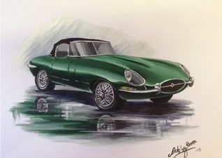 fineart for-him Jaguars cars  green E-types general blank all occasions for-him boyfriends dads uncles brothers birthdays  vintage british still life automobiles wheels fineart fathers  personalised online greeting card