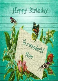 Birthday flowers butterflies blue green red happy  personalised online greeting card