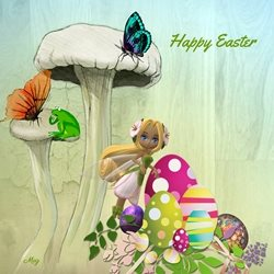 Easter Fairy Mushroom Eggs Frog Butterflies Blue Green Yellow Purple Happy  personalised online greeting card