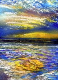Artcards by Matthew Evans Sunset's Evening Light General seascape holidays sunset pastel water sea blue orange sky evening water personalised online greeting card