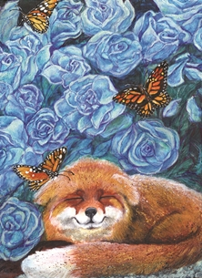 General Blue Roses, Flowers, Monarch Butterflies, Sleeping Fox, Acrylic Painting on canvas personalised online greeting card