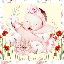 Millymoo Baby Girl Baby BABY congratulations celebration personalised online greeting card