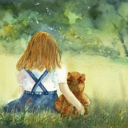 General girl, child, teddy bear, teddy personalised online greeting card
