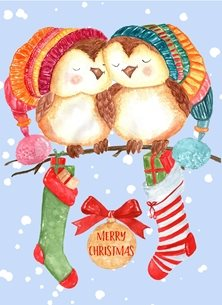 Christmas Owls, Cute, Winter, Snow,  personalised online greeting card