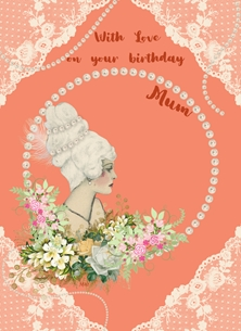 Birthday For Her Mum Birthday Pearls Lace Flowers Lady Orange White Green Happy  personalised online greeting card