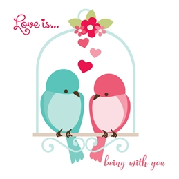 Little Bird Greetings Cards Love Is General Card General LOVE GENERAL romance birds personalised online greeting card