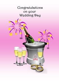 Her Nibs  Congratulations on your wedding day wedding Ice Bucket Rings Champagne Decorations Flutes Pink Grey Purple White Happy  z%a personalised online greeting card