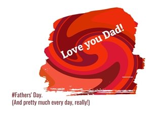 Fathers  red purple orange pink colourful paint bright loving happy for-him personalised online greeting card