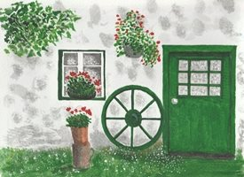 General Old cottage with cartwheel geraniums flowers  Cottages personalised online greeting card