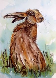 Sheila O'Brien Artwork You looking at me? art Hare personalised online greeting card