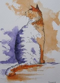art Cat, Pets, Animals, Wildlife, orange, sitting, kitten, personalised online greeting card