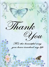 Her Nibs  Flowers and butterflies Thank You Flowers Butterflies blue lilac yellow uplifting  personalised online greeting card