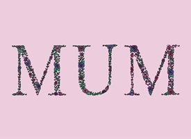 Dottie Mottie Mum Pink Background mothers birthday mother's day mum mummy mom birthday floral flowers daisy gerbera green pink purple garden chintz pretty  personalised online greeting card