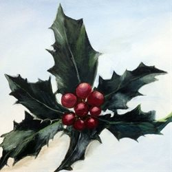 Christmas   Holly Botanical z%a personalised online greeting card