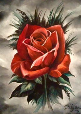 Art red roses black gothic flowers oils art  for-her blank general all occasions mums nans aunts sisters her valentines girlfriends birthdays nature floral petals single blooms leaves for-her personalised online greeting card