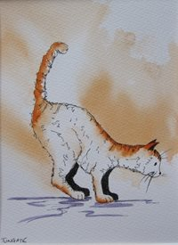 art Cat, Pets, Animals, Wildlife, jumping, kitten, personalised online greeting card