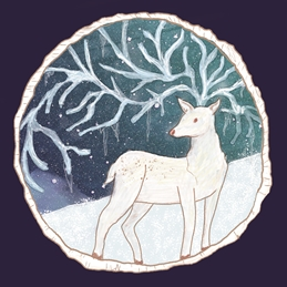 Christmas Winter Solstice, Pagan, Wicca, Icicles, Antlers, Reindeer, Deer, Snow, Holidays, North Pole, Snowflakes, Snowfall  personalised online greeting card