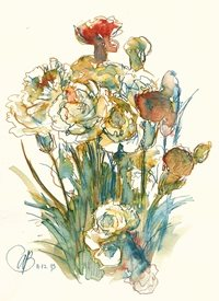 art Ink, pen, drawing, subdued, colour, red, yellow, blue, line. flowers, carnations personalised online greeting card
