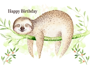 Birthday Sloth, Animal, Cute, For-Her, For Him, Wildlife personalised online greeting card