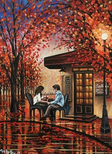 Art By Three  Autumn Reflections Art autumn trees leaves couples romance love wine cafe park reflections orange yellow tables for-her for-him anniversary valentines  personalised online greeting card
