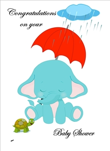 baby Baby Elephant Brolly Cloud Turtle Rain Blue Pink Red Green  shower Wholesale personalised online greeting card