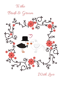 Her Nibs  Bride and Groom  Wedding For Him For Her Couple Love Birds Flowers Pink Black White Marriage  personalised online greeting card