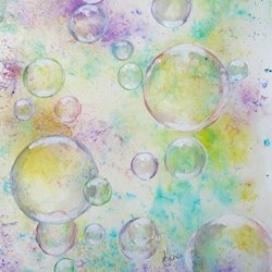 art bubbles,  soap coloured circles, spheres, marbles, fun  abstract,  pastel, birthday, celebrations, spa day, lady, girl, mum, girlfriend, friend, watercolour art, mother's day personalised online greeting card