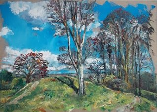 artistic hillfort, hampshire, tree, beech, landscape, oil, painting, impressionist,  fine, nature, history, prehistory personalised online greeting card