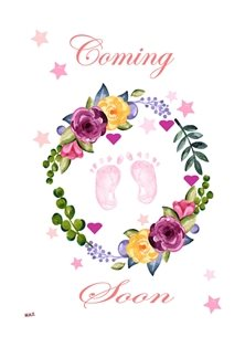 baby Baby Girl Feet Garland Flowers Hearts Stars Pink White Purple Yellow Blue Green for - her -mum to be Wholesale personalised online greeting card