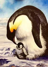 Art By Three  Penguin Love fineart Penguins emperor chicks  snow winter  for-him for-her for-child white cute  babies animals  fineart birds wildlife nature zoo antarctic ice oils mums dads general blank all occasions art him her kids children christmas personalised online greeting card