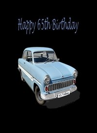 Birthday Car Retro Blue Black Happy  personalised online greeting card