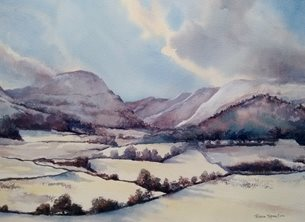Art lake district, cumbria, snow, winter, Loweswater personalised online greeting card