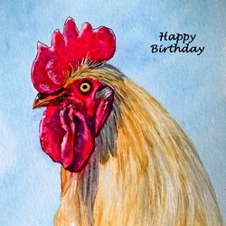 Birthday  artwork hen farmyard birds for-him for-her personalised online greeting card