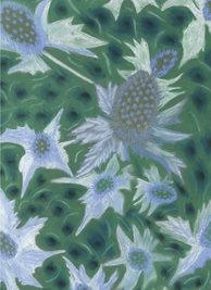 General Artistic painting  blue eryngiums flowers green personalised online greeting card
