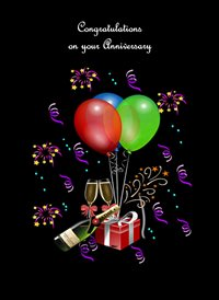 Her Nibs  Lets Party  Anniversary Balloons Champagne Decorations Gifts Flutes Black Green Blue Red  z%a personalised online greeting card