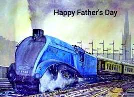 Fathers  train engine mallard blue yellow black for-him personalised online greeting card