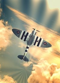 Photography for-him, son, brother, father, father's day, Spitfire, battle of britain, warbird, aircraft, ww2, raf, fighter, aeroplane, airplane, plane, vintage,  personalised online greeting card