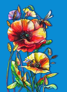Funky honeybees and colorful poppies