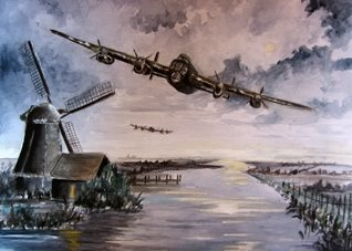 art for-him lancasters bombers planes general blank all occasions for-him boyfriends dads uncles brothers birthday remembrance army soldiers pilots sunsets windmills wars holland water clouds  fathers  personalised online greeting card